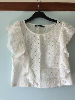 Zara Small Girls pretty White top with holed Gypsy lace pattern