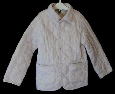 Girls Benetton Pale Pink White Lightly Padded Quilted Coat Age 4-5 Years