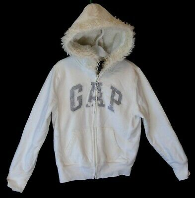 Girls Gap White Sparkly Logo Fleece Lined Hooded Jacket Hoodie Age 6-7 Years