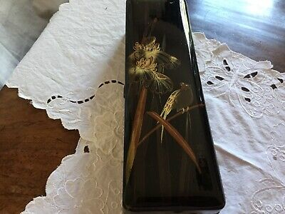 Vintage Hand Painted Highly Lacquered Japanese Black & Gold Wood Box