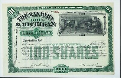 USA stock certificate 190x The Kanawha & Michigan Railway (scarce)