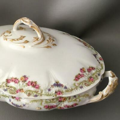 ANTIQUE LIMOGES PORCELAIN PINK & BLUE ROSES COVERED SERVING BOWL w GOLD DETAIL