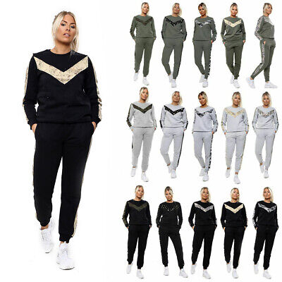 UK Womens 2 PCS Tracksuits Set Ladies Joggers Fleece Sport Loungewear Size 6-16