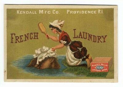 FRENCH LAUNDRY Kendall Soap Woman BEATING CLOTHING on Rock VICTORIAN Trade Card