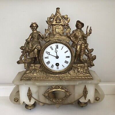 Antique French Ormolu & Marble Mantle Clock