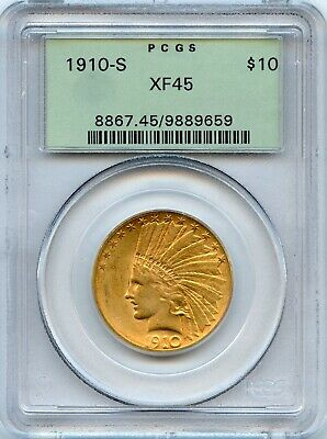 1910 S Indian Head $10 Gold Eagle PCGS XF45 Old Green Holder