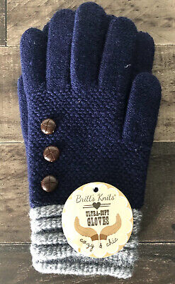 NWT Britt's Knits Blue/Gray Ultra Soft Winter Gloves With Button Accents