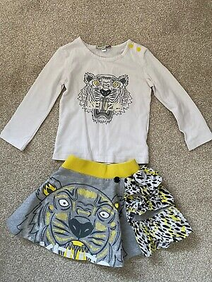 Authentic KENZO Baby Girls Lion Tshirt Top And Skirt Set (6-12 months)