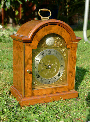 Beautiful Vintage ELLIOTT Burr Walnut 8-day BELL STRIKING Bracket Mantel CLOCK