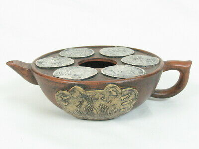 Vintage CHINESE CLAY POTTERY TEAPOT SIGNED COINS AND ZODIAC MAJOLICA