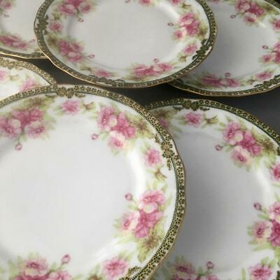 ANTIQUE VTG LIMOGES ELITE PINK FLOWERS w GOLD GREEN PORCELAIN DESSERT PLATE SET