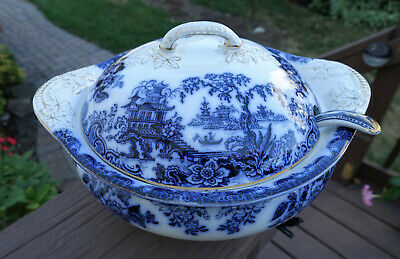 Lovely Antique Flow Blue Covered Soup Tureen & Ladle Staffordshire England