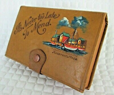 Vintage 1950s Leatherette Sewing Box and Contents with Motif No. 1 (Rockport)