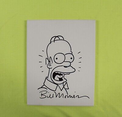 Homer Simpson by Bill Morrison The Simpsons Signed Sketch 8x10 Canvas