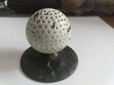 Vintage Golf Ball On Tee Cast Iron Figural Paperweight Numbered 3387 Hubley