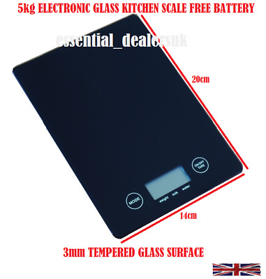 5Kg Food Slim Weighing Scales Digital Lcd Electronic Glass Kitchen Cooking Bk