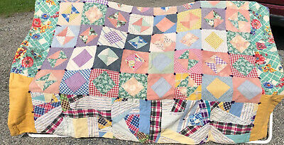 """SMALL Vintage Fabric Hand Pieced CRAZY SQUARES Quilt TOP 62""""x 62"""" Yarn Knotted"""