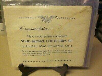 SHELL OIL COMPANY SOLID BRONZE COIN COLLECTOR'S SET Franklin Mint Pres. Coins