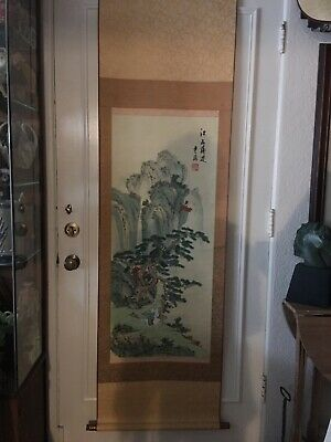 "Vintage Beautiful 72"" Long Asian Signed Painted Silk & Paper Art Scroll"