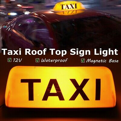 Yellow 12V Taxi Cab Sign Roof Top Topper Car Magnetic Sign Lamp Light