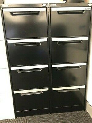 2 x Filing Cabinet - Metal Black 4 Drawer