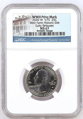 2020 W Weir Farm Historic Park NGC MS 67 Early Releases ER V75 WWII Privy Mark