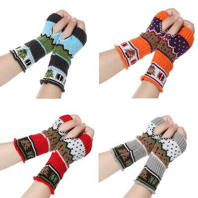 Elastic Soft Arm Warmers Christmas Tree Long Knitted Gloves Fingerless  Mittens
