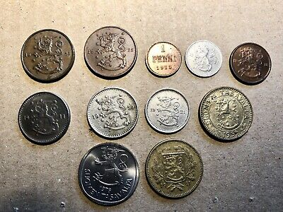 Lot #1 Vintage Finland Coins.