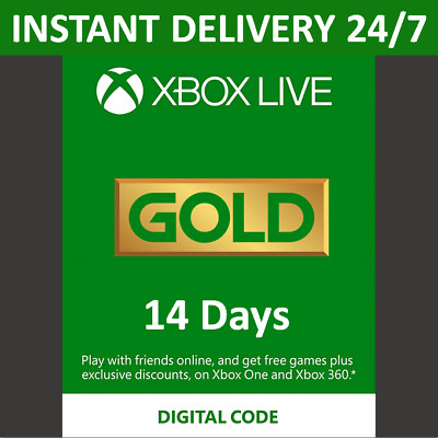 14 Day Xbox Live Gold Trial Membership Code - 2 Weeks - Xbox One - Instant 24/7