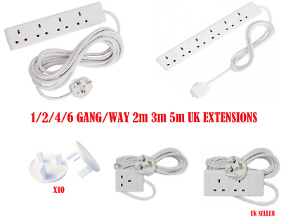 1 2 4 6 WAY/GANG - 2M 3M 5M EXTENSION LEAD CABLE EXTENSION SOCKET 10XSockets Cov