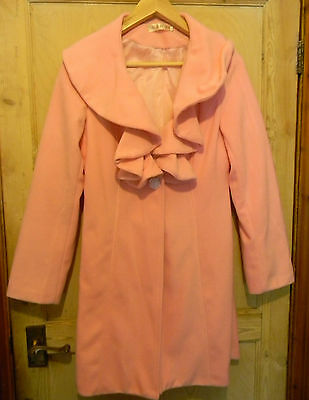 NEW women's girls pink coat jacket  with bow wool mix from Hong Kong