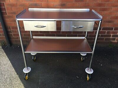 Stainless steel medical trolley two drawer.
