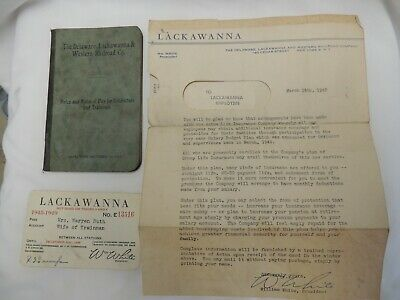 Delaware Lackawanna Western Railroad Rules Pay Book 1913 Free Pass & Letter 1948