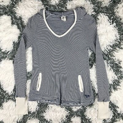 Roxy Women's Hoodie Long Sleeve Shirt Navy Blue Striped Size xs