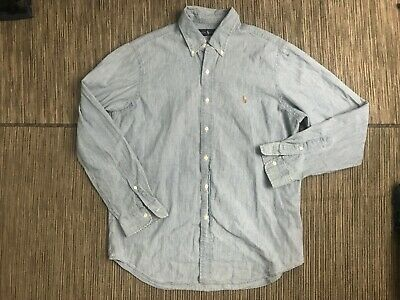 Ralph Lauren Adult Mens Large Button Down Chambray Shirt Long Sleeve Blue