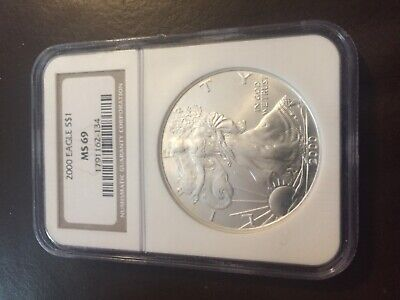 2000 silver eagle ngc ms69 one oz coin