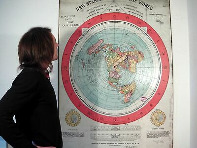 GIANT FLAT EARTH POSTER PRINT. Gleasons New Standard Map Of The World 1892 XXL