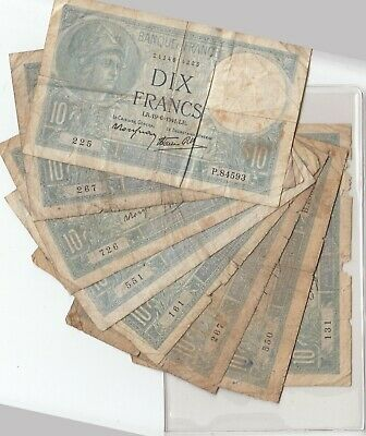 10 Francs France French Currency Banknote Wwii 1936 -1941