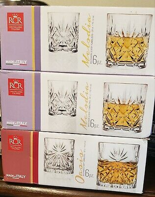 RCR LUXION Double Old Fashioned Whiskey Tumblers Italian Crystal Glasses Set 6