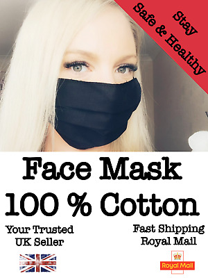 Face mask Mouth and Nose Protection Washable and Reusable 100 % Cotton UK Stock