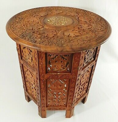 """Vintage Indian 18"""" Carved Octagon Wood Inlaid Folding Side/End Accent Table"""