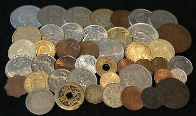 Mixed lot Foreign Coins Including SILVER & 1800's VG to AU Condition 45 Coins!