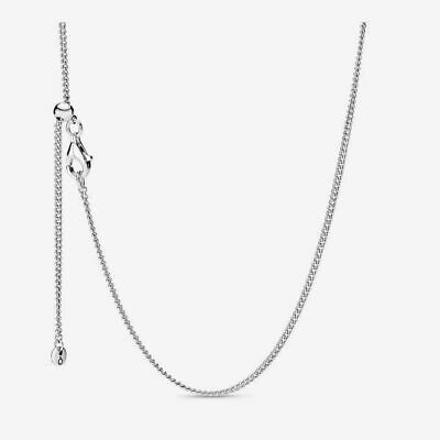Genuine Sterling Silver PANDORA CURB CHAIN ADJUSTABLE NECKLACE 39828360 S925 ALE