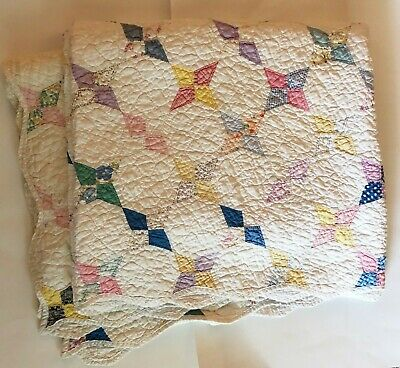 Large ANTIQUE OCTAGONAL FOUR POINT STAR QUILT HAND QUILTED HAND PIECED 90x70