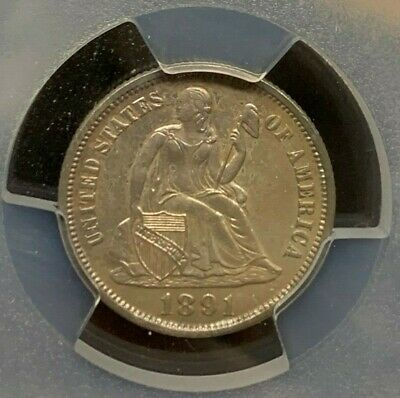 1891 Mint Seated Liberty Dime - PCGS Genuine Cleaned - UNC Details