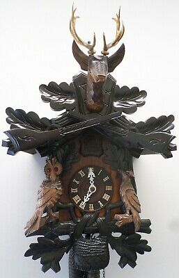 Unusual German Black Forest Owl Working Carved Large Hunter Deer Cuckoo Clock!