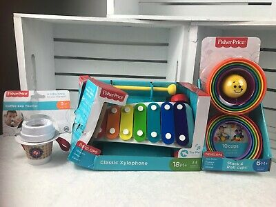 Fisher-Price Classic Xylophone- teether-stack and roll cups develops   lot of 3