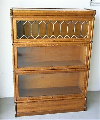 Oak Three Section Barrister Bookcase With Diamond Shaped Leaded Glass Door