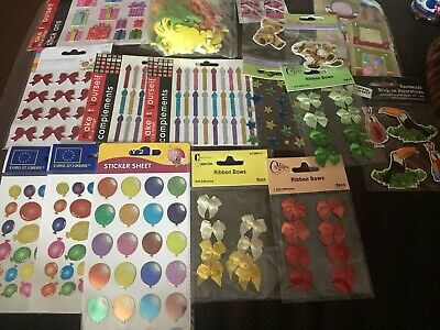Job Lot Of Stickers Made Of Felt, Ribbon, Metallic Etc For Crafting
