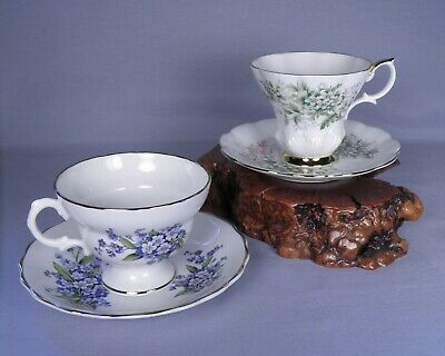 Lot of 2 Vintage Tea Cups Royal Albert Friendship and Hawthorne Rosina